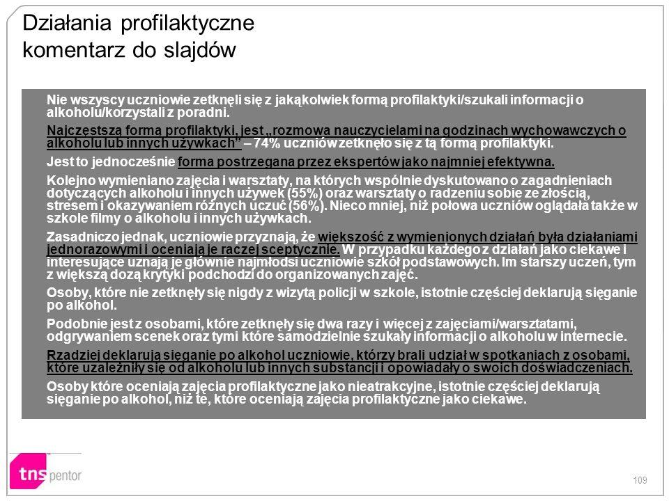 109 Działania profilaktyczne komentarz do slajdów Nie wszyscy uczniowie zetknęli się z jakąkolwiek formą profilaktyki/szukali informacji o alkoholu/ko
