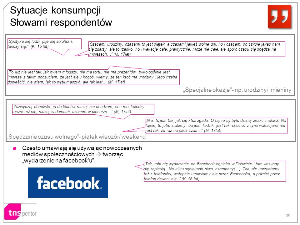39 Sytuacje konsumpcji Słowami respondentów Często umawiają się używając nowoczesnych mediów społecznościowych tworząc wydarzenie na facebooku. Zazwyc