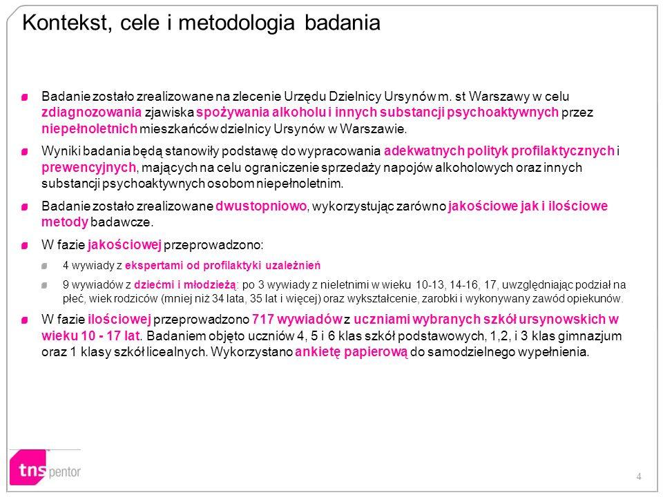 4 Badanie zostało zrealizowane na zlecenie Urzędu Dzielnicy Ursynów m. st Warszawy w celu zdiagnozowania zjawiska spożywania alkoholu i innych substan