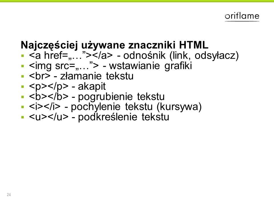 Najczęściej używane znaczniki HTML - odnośnik (link, odsyłacz) - wstawianie grafiki - złamanie tekstu - akapit - pogrubienie tekstu - pochylenie tekst