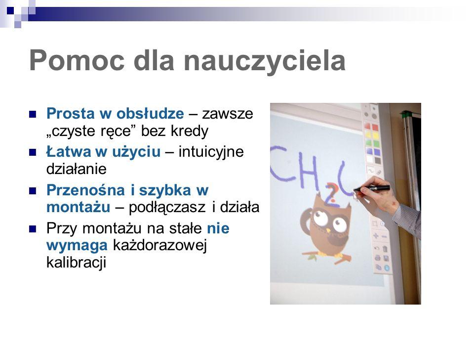 Multimedialne lekcje dla ucznia Nowoczesna technologia – rysuje, pisze, zaznacza, wyświetla nawet na ścianie Ułatwia zapamiętywanie – uczniowie chętniej uczestniczą w lekcji Nowoczesny flipchart – zapamiętuje treść ekranu i drukuje