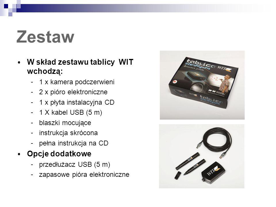 Zestaw W skład zestawu tablicy WIT wchodzą: – 1 x kamera podczerwieni – 2 x pióro elektroniczne – 1 x płyta instalacyjna CD – 1 X kabel USB (5 m) – bl
