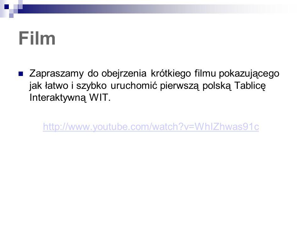 Film Zapraszamy do obejrzenia krótkiego filmu pokazującego jak łatwo i szybko uruchomić pierwszą polską Tablicę Interaktywną WIT. http://www.youtube.c