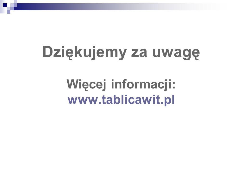 Dziękujemy za uwagę Więcej informacji: www.tablicawit.pl