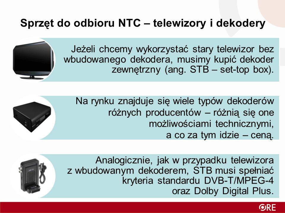 Sprzęt do odbioru NTC – telewizory i dekodery Jeżeli chcemy wykorzystać stary telewizor bez wbudowanego dekodera, musimy kupić dekoder zewnętrzny (ang.