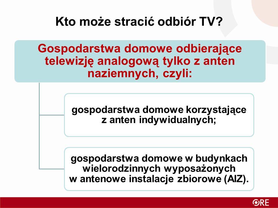 Gospodarstwa domowe odbierające telewizję analogową tylko z anten naziemnych, czyli: gospodarstwa domowe korzystające z anten indywidualnych; gospodarstwa domowe w budynkach wielorodzinnych wyposażonych w antenowe instalacje zbiorowe (AIZ).