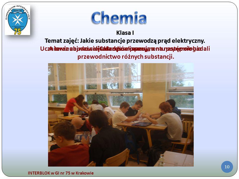 INTERBLOK w GI nr 75 w Krakowie 10 Klasa I Temat zajęć: Jakie substancje przewodzą prąd elektryczny. Uczniowie zbudowali układ pomiarowy, a na następn