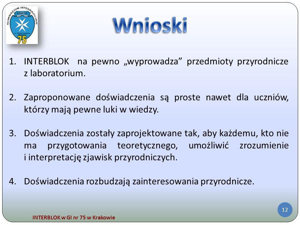 INTERBLOK w GI nr 75 w Krakowie 12 1.INTERBLOK na pewno wyprowadza przedmioty przyrodnicze z laboratorium. 2.Zaproponowane doświadczenia są proste naw