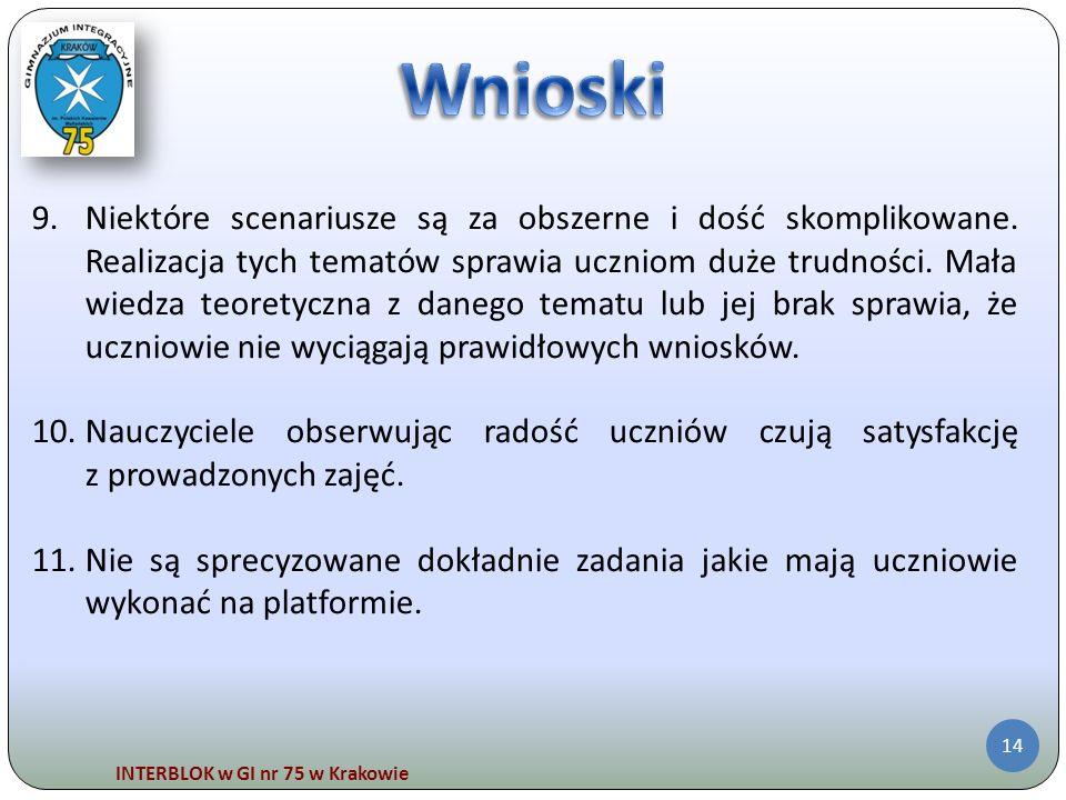 INTERBLOK w GI nr 75 w Krakowie 14 9.Niektóre scenariusze są za obszerne i dość skomplikowane. Realizacja tych tematów sprawia uczniom duże trudności.