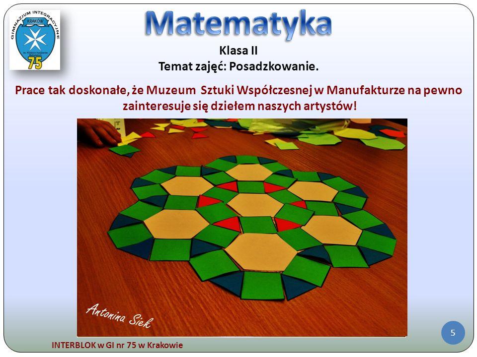 INTERBLOK w GI nr 75 w Krakowie 6 Klasa III Temat zajęć: W GÓRĘ.
