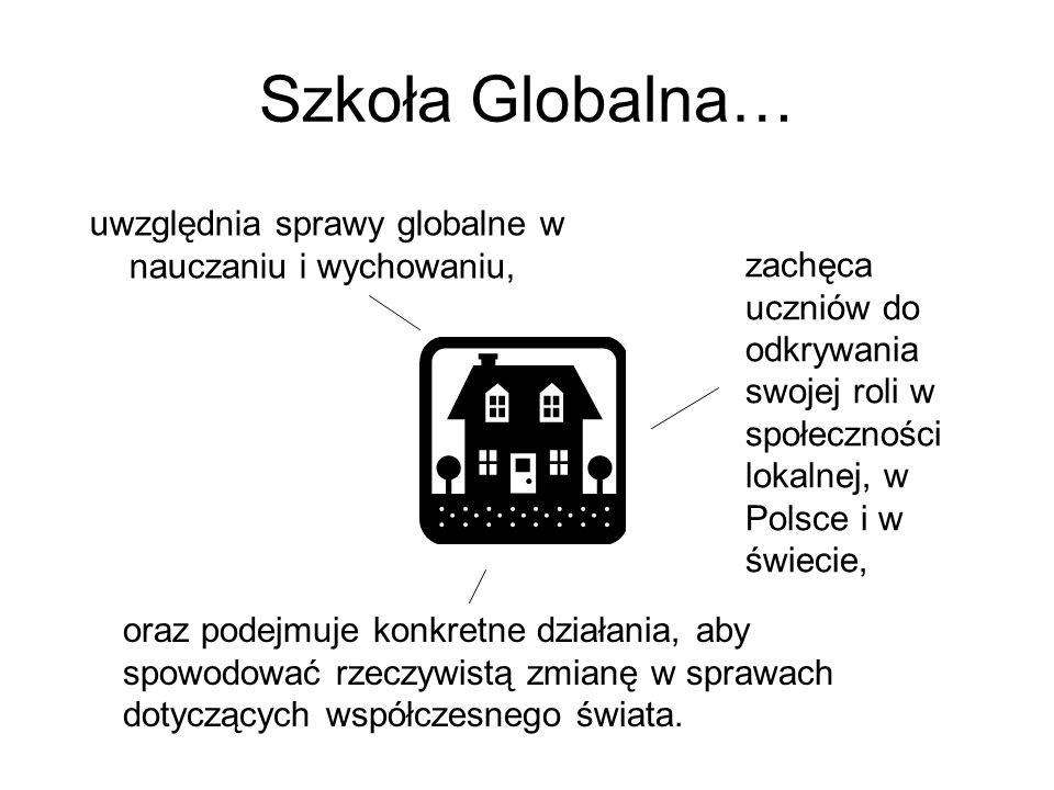 Szkoła Globalna… uwzględnia sprawy globalne w nauczaniu i wychowaniu, zachęca uczniów do odkrywania swojej roli w społeczności lokalnej, w Polsce i w świecie, oraz podejmuje konkretne działania, aby spowodować rzeczywistą zmianę w sprawach dotyczących współczesnego świata.