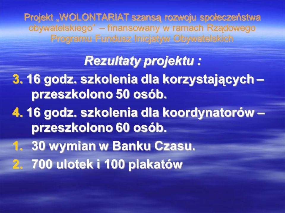 Projekt WOLONTARIAT szansą rozwoju społeczeństwa obywatelskiego – finansowany w ramach Rządowego Programu Fundusz Inicjatyw Obywatelskich Rezultaty projektu : 3.