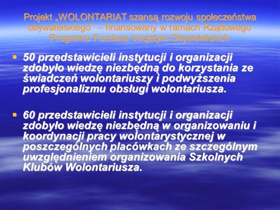 Projekt WOLONTARIAT szansą rozwoju społeczeństwa obywatelskiego – finansowany w ramach Rządowego Programu Fundusz Inicjatyw Obywatelskich 50 przedstawicieli instytucji i organizacji zdobyło wiedzę niezbędną do korzystania ze świadczeń wolontariuszy i podwyższenia profesjonalizmu obsługi wolontariusza.