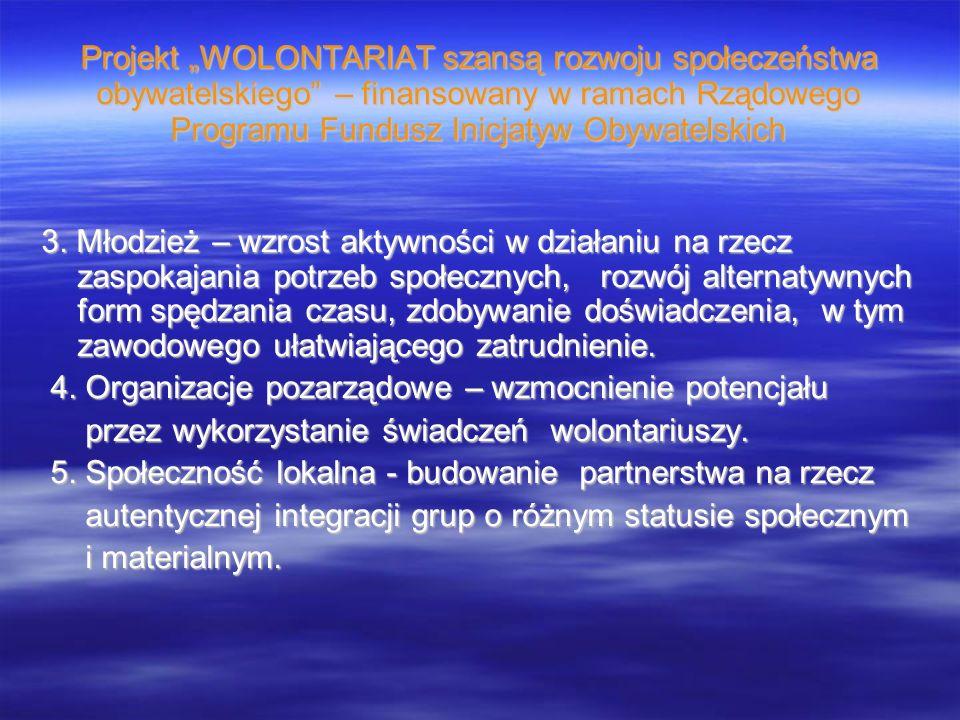 Projekt WOLONTARIAT szansą rozwoju społeczeństwa obywatelskiego – finansowany w ramach Rządowego Programu Fundusz Inicjatyw Obywatelskich 3. Młodzież