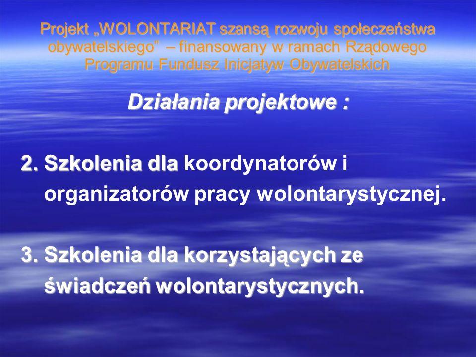 Projekt WOLONTARIAT szansą rozwoju społeczeństwa obywatelskiego – finansowany w ramach Rządowego Programu Fundusz Inicjatyw Obywatelskich Działania projektowe : 2.
