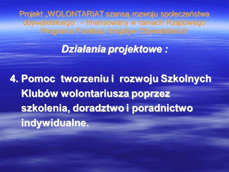 Projekt WOLONTARIAT szansą rozwoju społeczeństwa obywatelskiego – finansowany w ramach Rządowego Programu Fundusz Inicjatyw Obywatelskich Działania projektowe : 4.