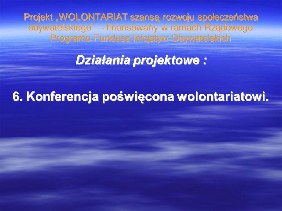 Projekt WOLONTARIAT szansą rozwoju społeczeństwa obywatelskiego – finansowany w ramach Rządowego Programu Fundusz Inicjatyw Obywatelskich Działania pr