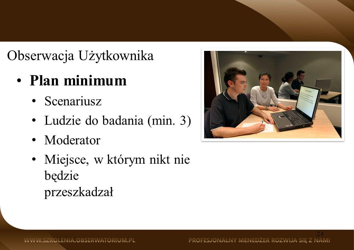 Obserwacja Użytkownika Plan minimum Scenariusz Ludzie do badania (min.