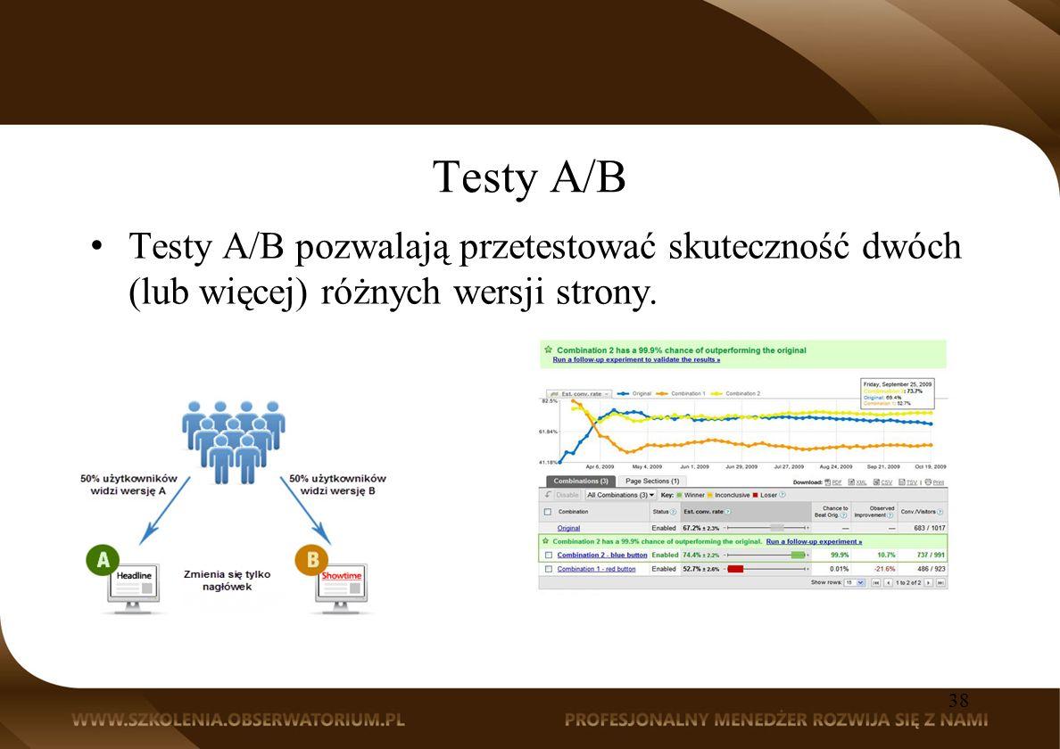 Testy A/B Testy A/B pozwalają przetestować skuteczność dwóch (lub więcej) różnych wersji strony. 38