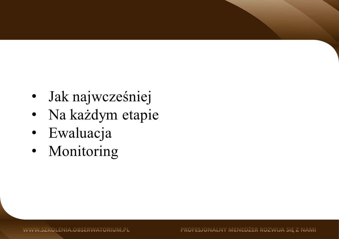 Jak najwcześniej Na każdym etapie Ewaluacja Monitoring