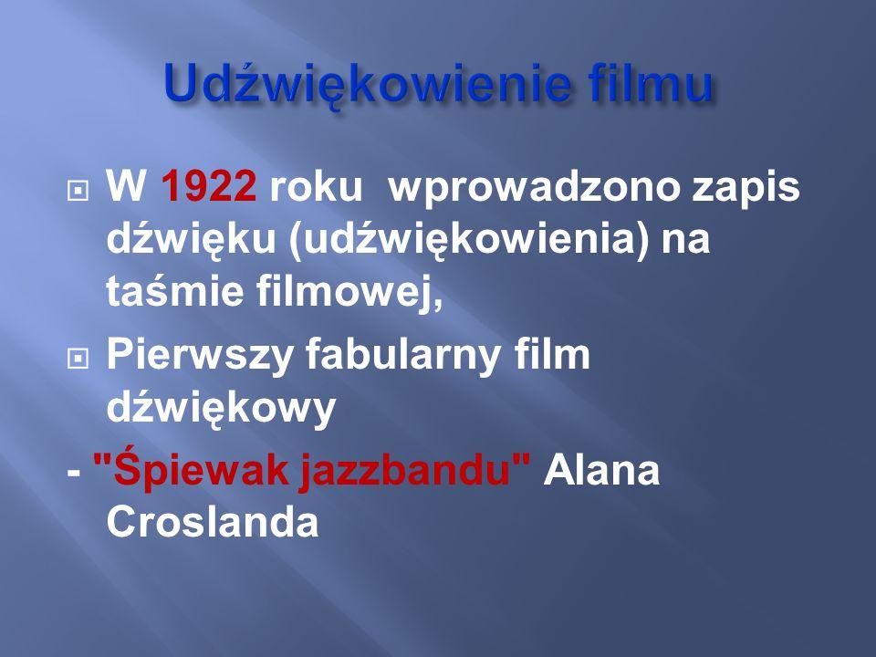 W 1922 roku wprowadzono zapis dźwięku (udźwiękowienia) na taśmie filmowej, Pierwszy fabularny film dźwiękowy -