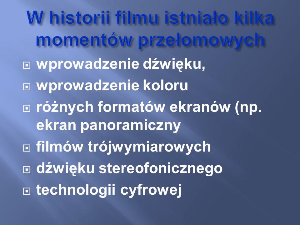 wprowadzenie dźwięku, wprowadzenie koloru różnych formatów ekranów (np. ekran panoramiczny filmów trójwymiarowych dźwięku stereofonicznego technologii