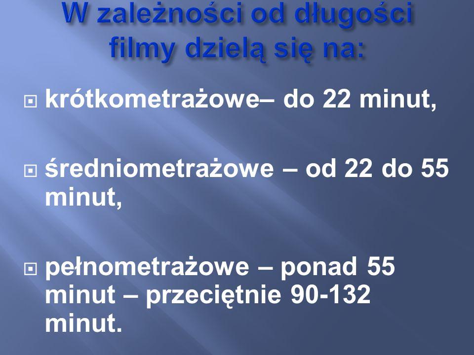 krótkometrażowe– do 22 minut, średniometrażowe – od 22 do 55 minut, pełnometrażowe – ponad 55 minut – przeciętnie 90-132 minut.