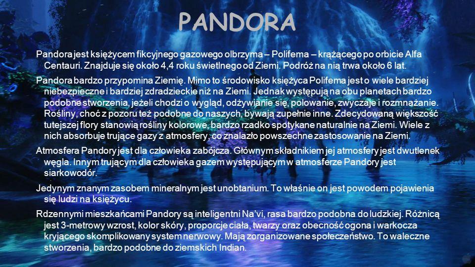 PANDORA Pandora jest księżycem fikcyjnego gazowego olbrzyma – Polifema – krążącego po orbicie Alfa Centauri. Znajduje się około 4,4 roku świetlnego od