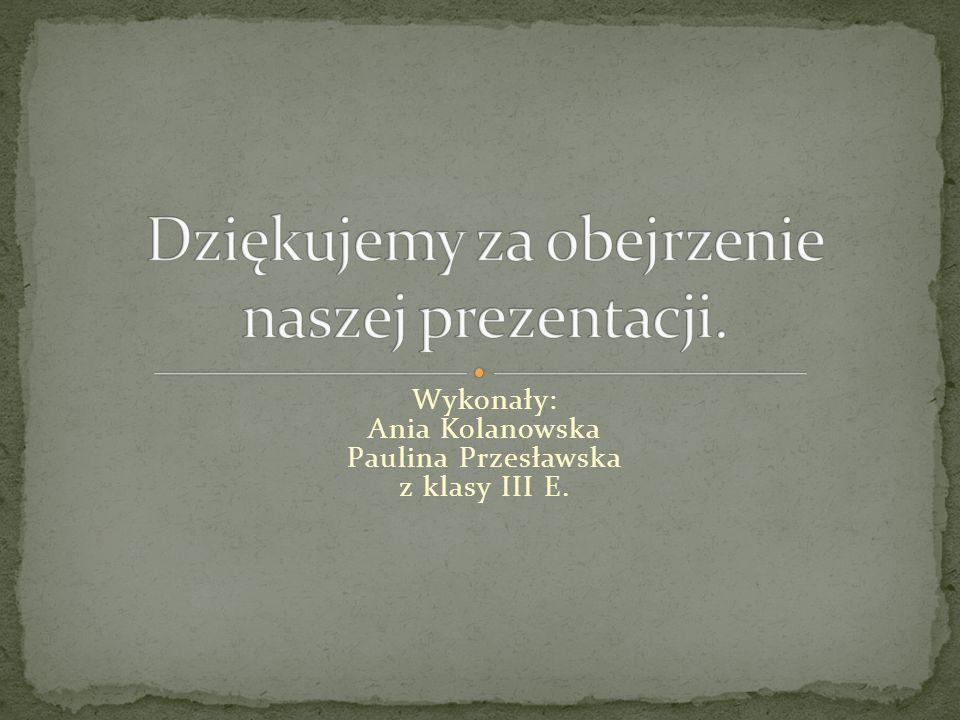 Wykonały: Ania Kolanowska Paulina Przesławska z klasy III E.