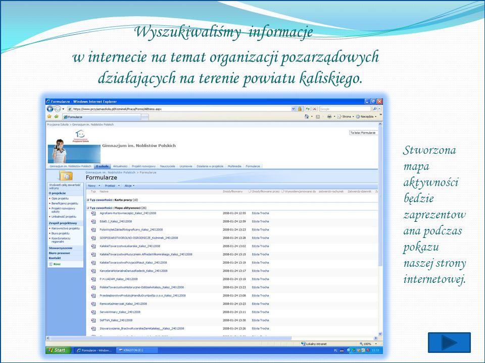 Wyszukiwaliśmy informacje w internecie na temat organizacji pozarządowych działających na terenie powiatu kaliskiego. Stworzona mapa aktywności będzie