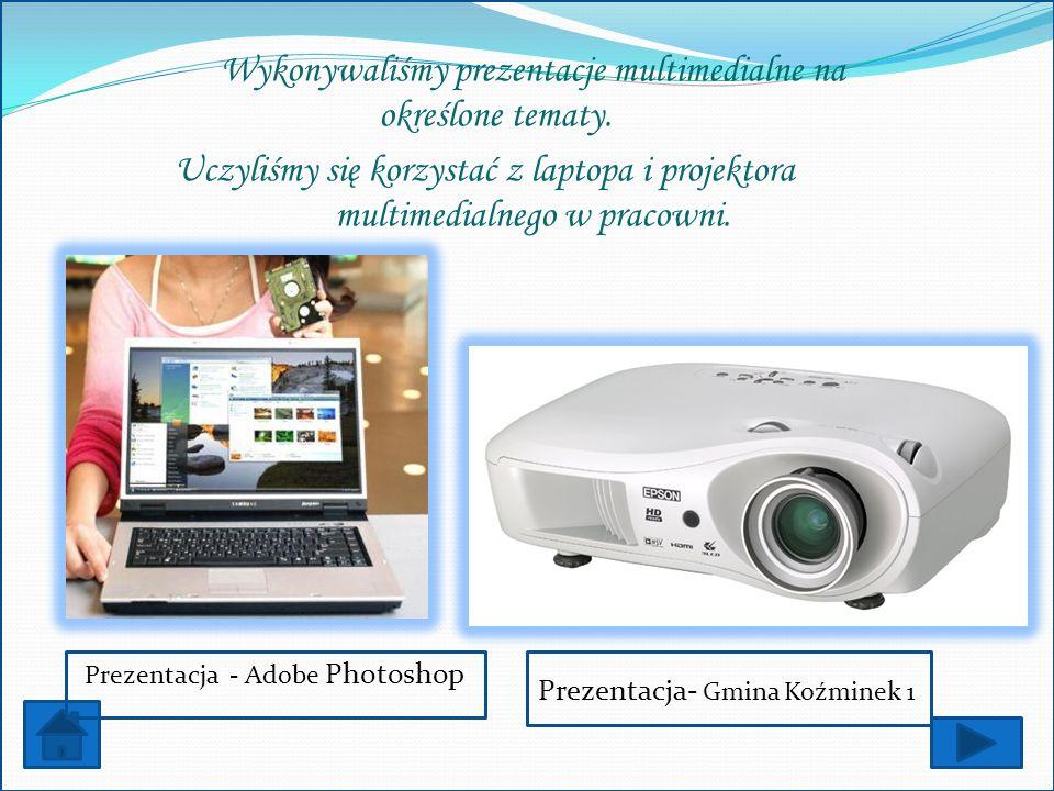 Wykonywaliśmy prezentacje multimedialne na określone tematy. Uczyliśmy się korzystać z laptopa i projektora multimedialnego w pracowni. Prezentacja -
