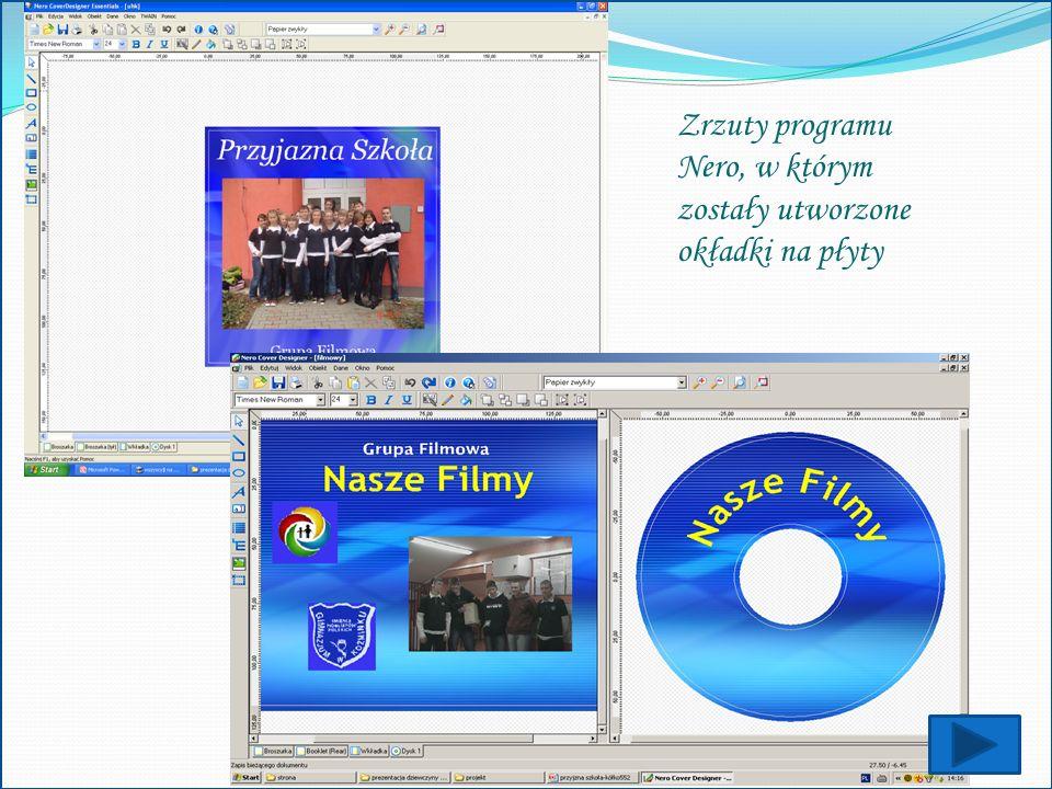 Zrzuty programu Nero, w którym zostały utworzone okładki na płyty