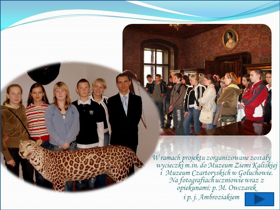 W ramach projektu zorganizowane zostały wycieczki m.in. do Muzeum Ziemi Kaliskiej i Muzeum Czartoryskich w Gołuchowie. Na fotografiach uczniowie wraz