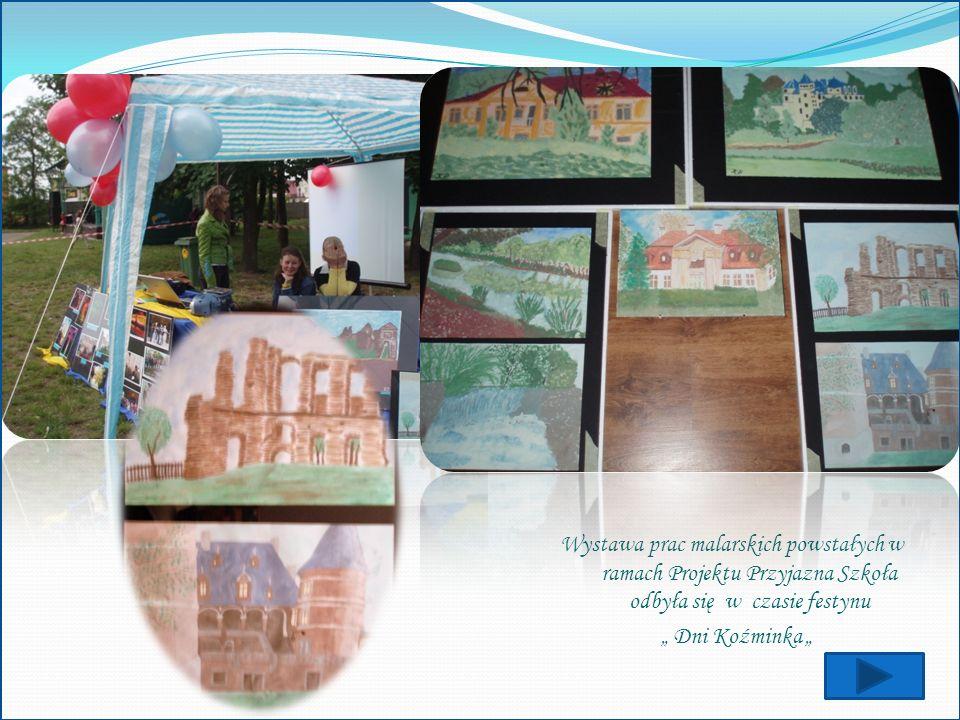Wystawa prac malarskich powstałych w ramach Projektu Przyjazna Szkoła odbyła się w czasie festynu Dni Koźminka