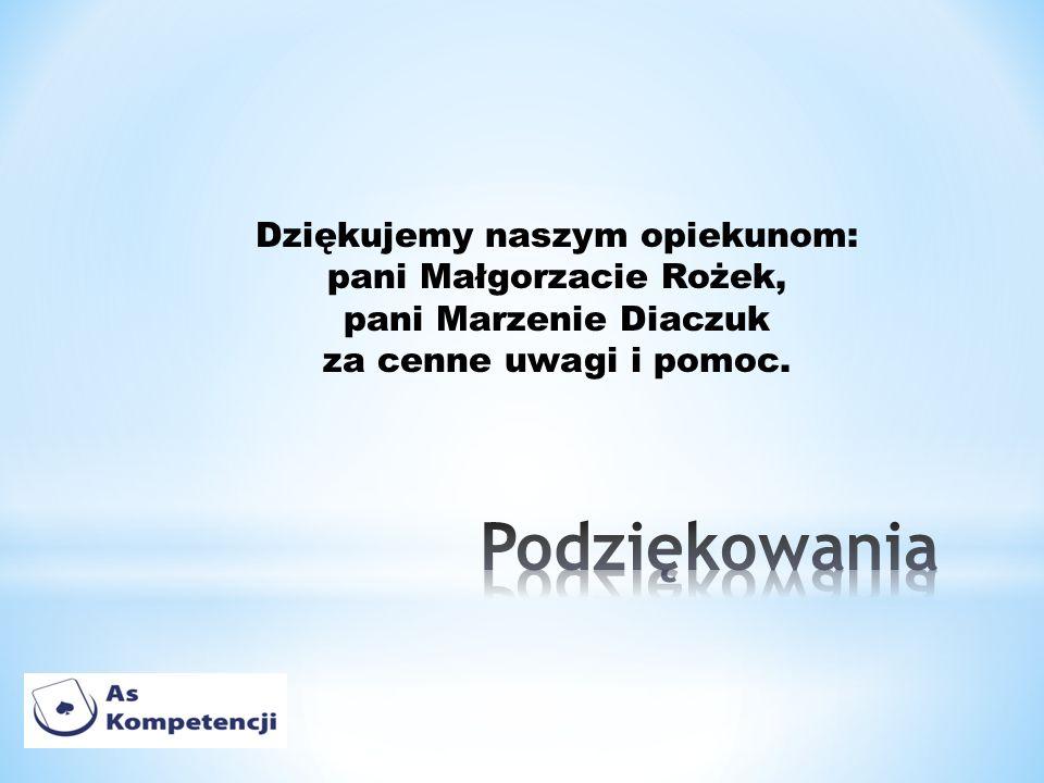 Dziękujemy naszym opiekunom: pani Małgorzacie Rożek, pani Marzenie Diaczuk za cenne uwagi i pomoc.