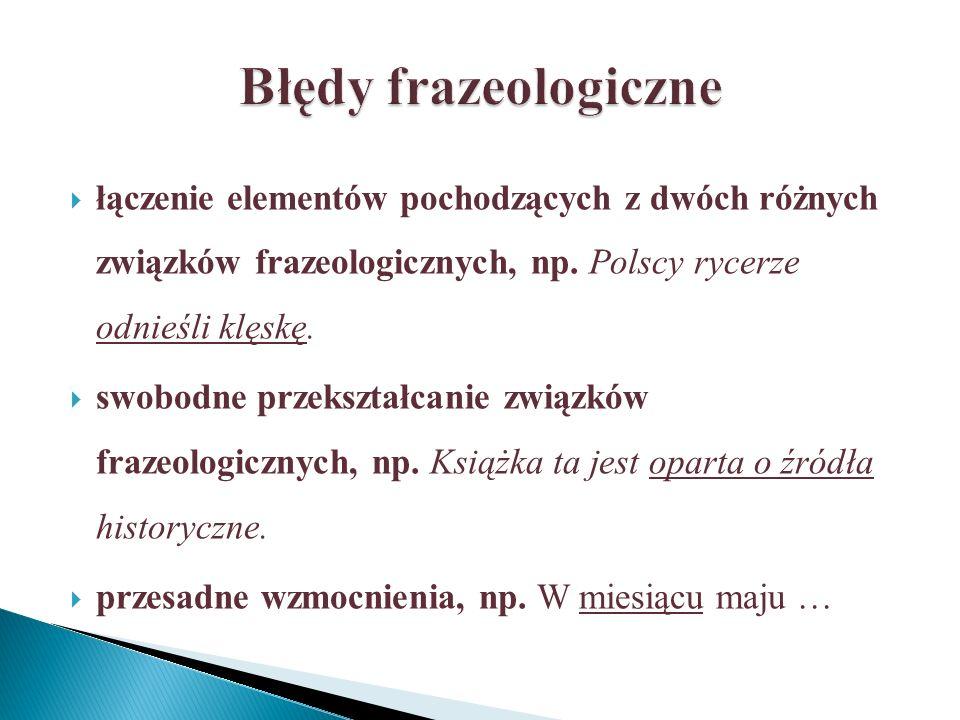 łączenie elementów pochodzących z dwóch różnych związków frazeologicznych, np.