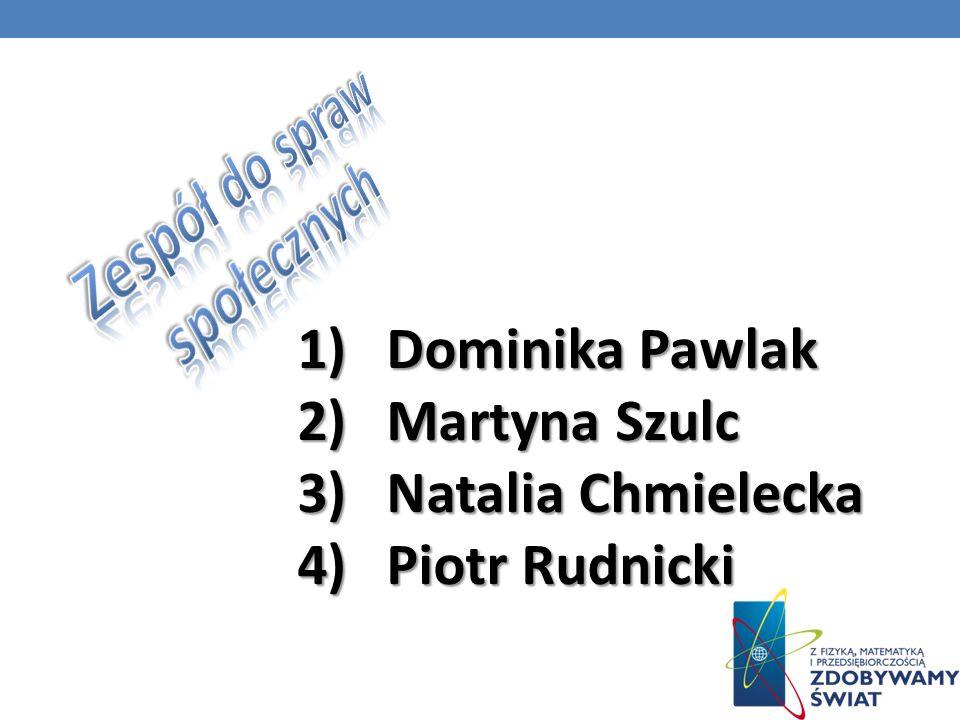 1) 1) Dominika Pawlak 2) 2) Martyna Szulc 3) 3) Natalia Chmielecka 4) 4) Piotr Rudnicki