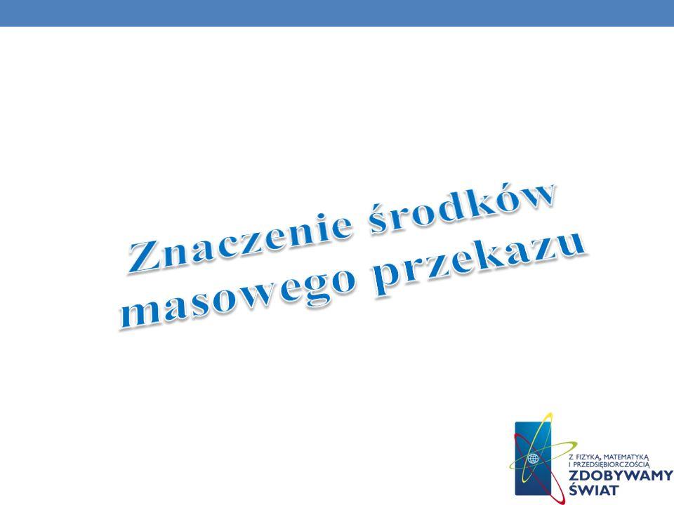 Gazety społeczne: a) Fakt b) Super Express c) Gazeta wyborcza d) Z życia wzięte e) Sukcesy i porażki Strony Internetowe: a) http://www.wp.pl/ http://www.wp.pl/ b) http://www.onet.pl/ http://www.onet.pl/ c) http://o2.pl/ http://o2.pl/ d) http://www.interia.pl/ http://www.interia.pl/ Programy społeczne: a) Magazyn Expressu Reporterów b) Celownik c) Sprawa dla reportera d) Interwencja e) 997 Stacje radiowe: a) Polskie Radio b) RMF FM c) Radio Zet