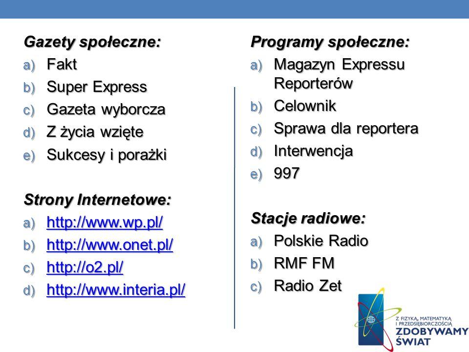 Gazety społeczne: a) Fakt b) Super Express c) Gazeta wyborcza d) Z życia wzięte e) Sukcesy i porażki Strony Internetowe: a) http://www.wp.pl/ http://w
