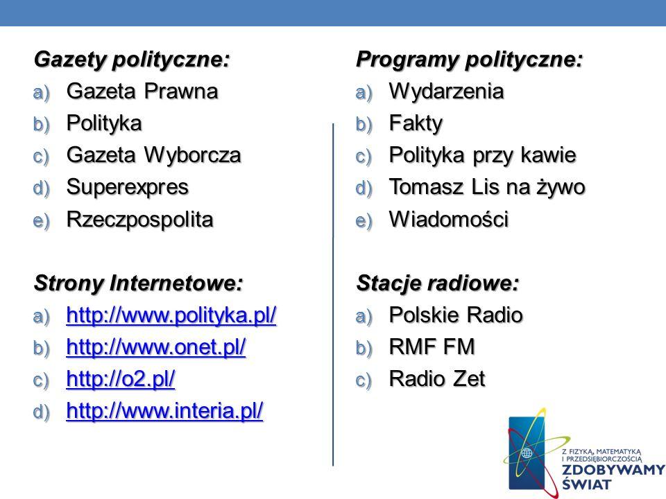 Gazety polityczne: a) Gazeta Prawna b) Polityka c) Gazeta Wyborcza d) Superexpres e) Rzeczpospolita Strony Internetowe: a) http://www.polityka.pl/ htt