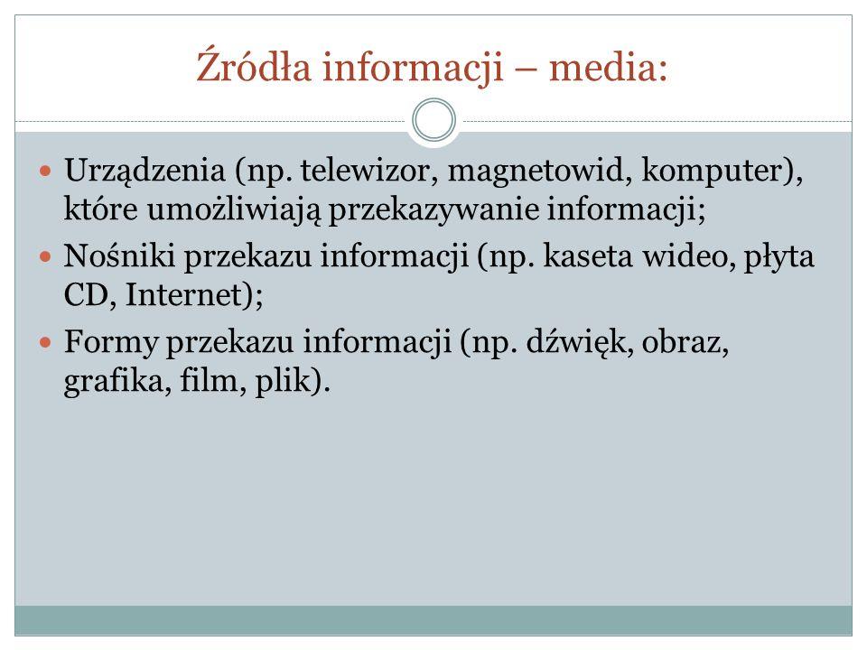 Źródła informacji – media: Urządzenia (np. telewizor, magnetowid, komputer), które umożliwiają przekazywanie informacji; Nośniki przekazu informacji (