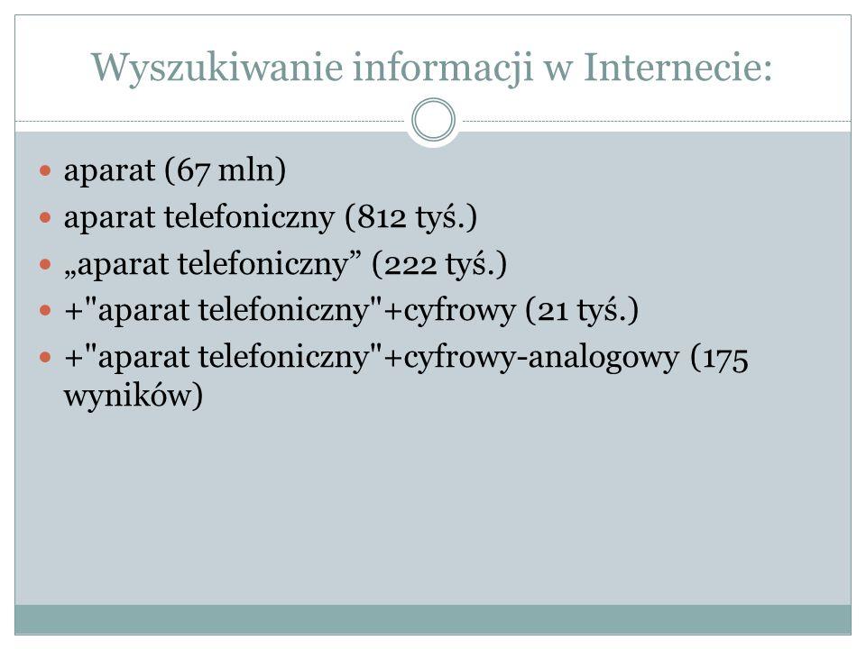 Wyszukiwanie informacji w Internecie: aparat (67 mln) aparat telefoniczny (812 tyś.) aparat telefoniczny (222 tyś.) +