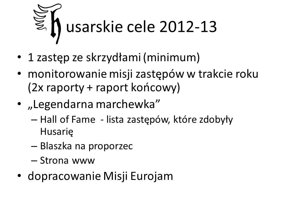 1 zastęp ze skrzydłami (minimum) monitorowanie misji zastępów w trakcie roku (2x raporty + raport końcowy) Legendarna marchewka – Hall of Fame - lista zastępów, które zdobyły Husarię – Blaszka na proporzec – Strona www dopracowanie Misji Eurojam usarskie cele 2012-13