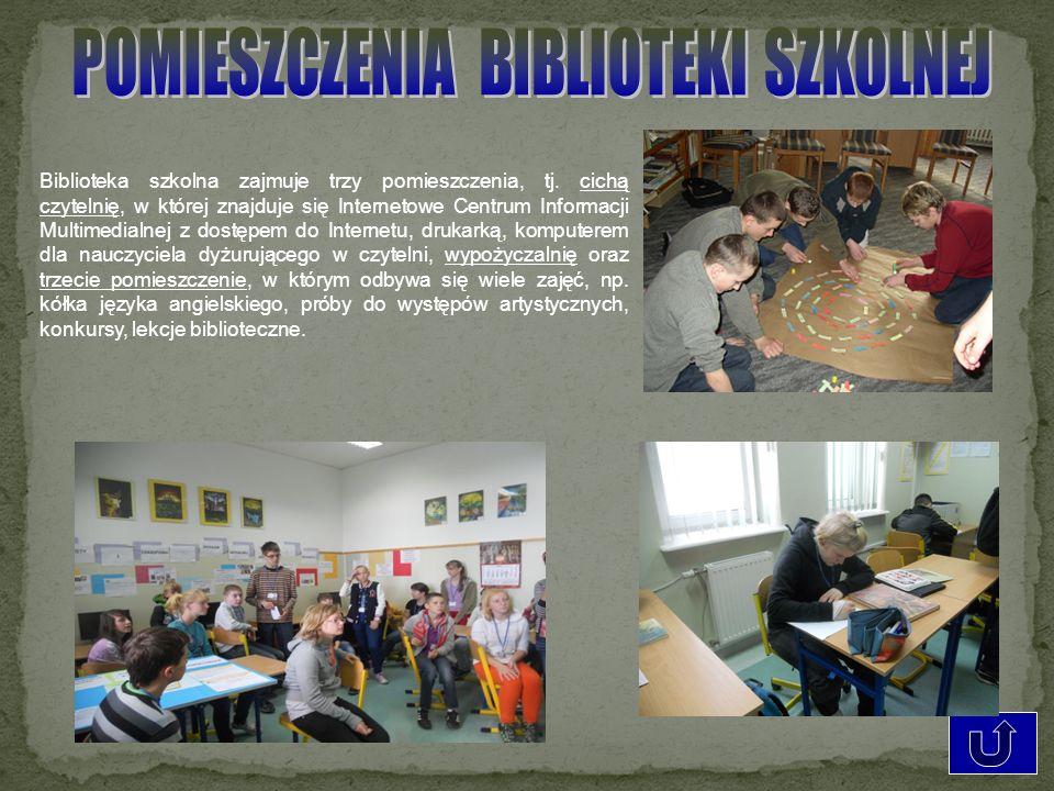 Biblioteka szkolna zajmuje trzy pomieszczenia, tj. cichą czytelnię, w której znajduje się Internetowe Centrum Informacji Multimedialnej z dostępem do