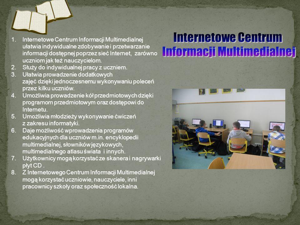 1.Internetowe Centrum Informacji Multimedialnej ułatwia indywidualne zdobywanie i przetwarzanie informacji dostępnej poprzez sieć Internet, zarówno uc