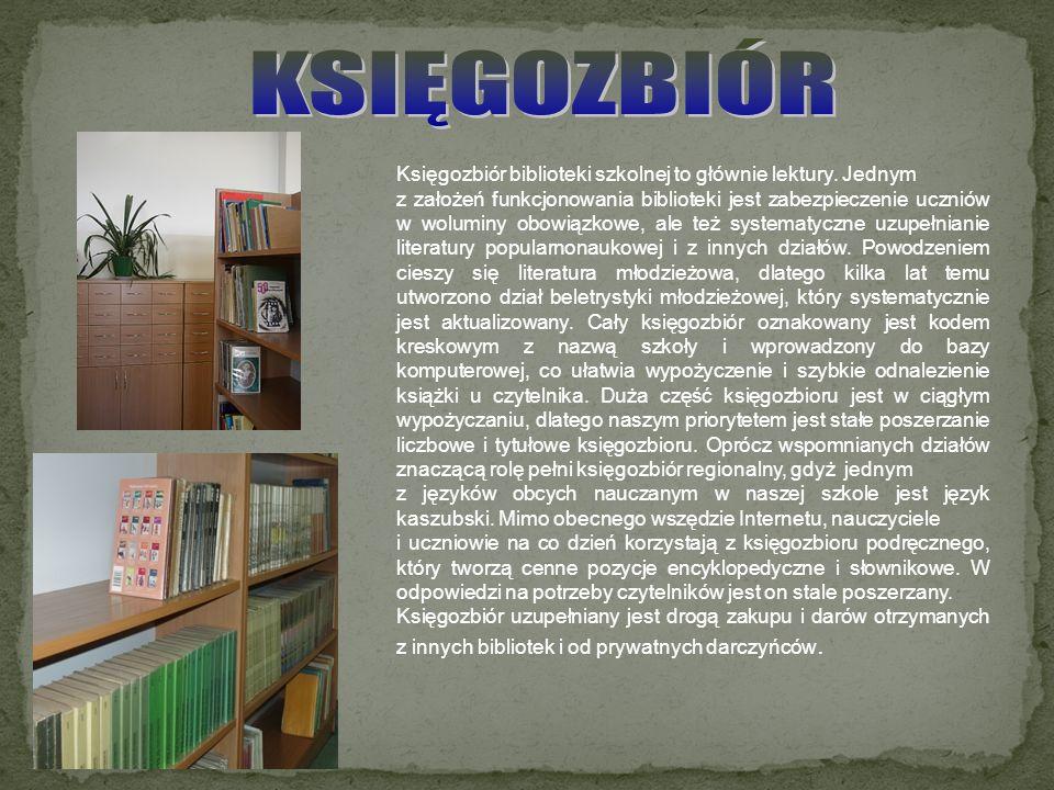 Księgozbiór biblioteki szkolnej to głównie lektury. Jednym z założeń funkcjonowania biblioteki jest zabezpieczenie uczniów w woluminy obowiązkowe, ale