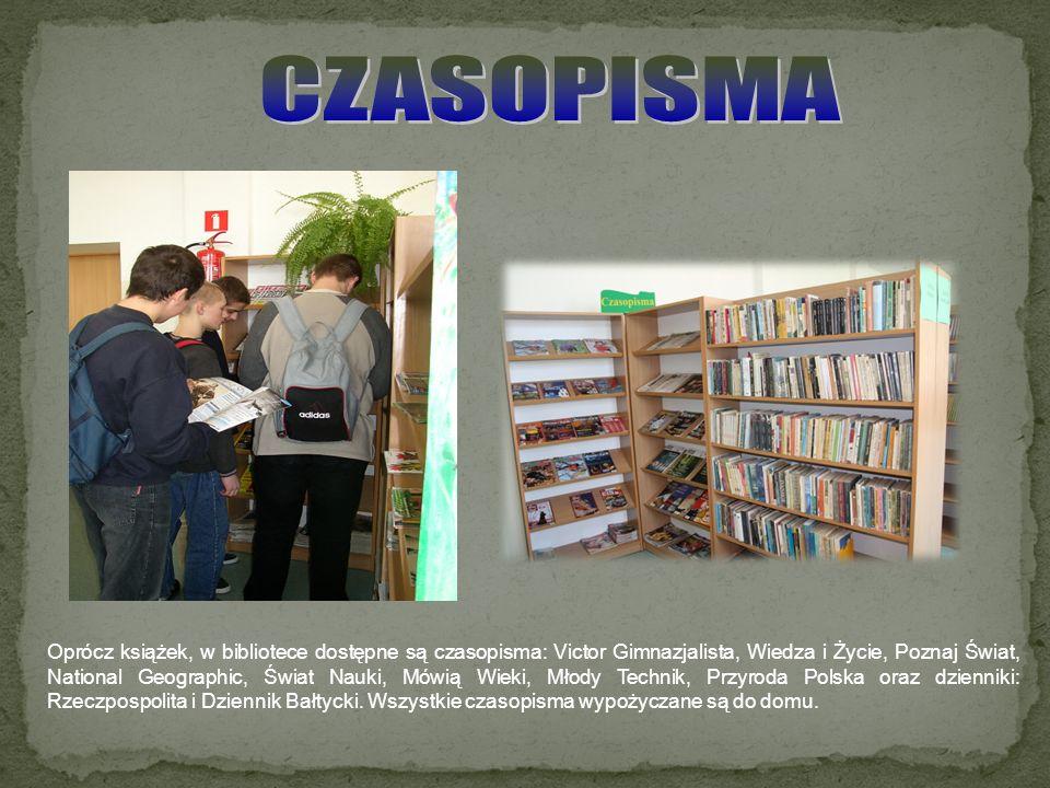 Oprócz książek, w bibliotece dostępne są czasopisma: Victor Gimnazjalista, Wiedza i Życie, Poznaj Świat, National Geographic, Świat Nauki, Mówią Wieki