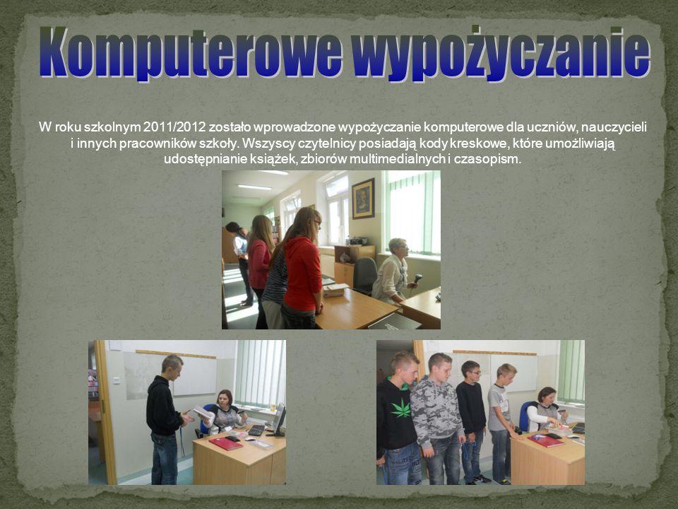 W roku szkolnym 2011/2012 zostało wprowadzone wypożyczanie komputerowe dla uczniów, nauczycieli i innych pracowników szkoły. Wszyscy czytelnicy posiad