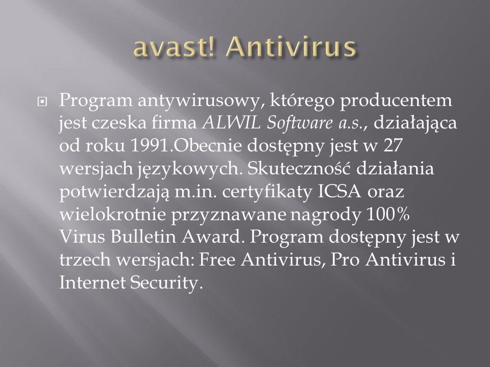Program antywirusowy, którego producentem jest czeska firma ALWIL Software a.s., działająca od roku 1991.Obecnie dostępny jest w 27 wersjach językowyc