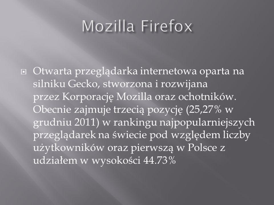 Otwarta przeglądarka internetowa oparta na silniku Gecko, stworzona i rozwijana przez Korporację Mozilla oraz ochotników. Obecnie zajmuje trzecią pozy